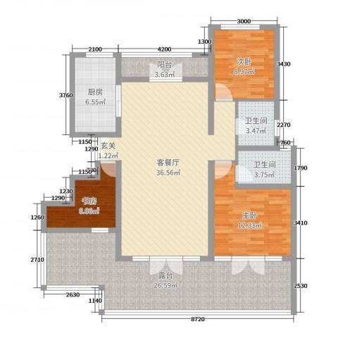 首开・国风海岸3室2厅2卫1厨111.00㎡户型图