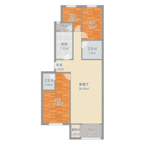 龙腾苑六区3室2厅2卫1厨120.00㎡户型图
