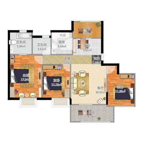苏州世茂石湖湾3室1厅2卫1厨124.00㎡户型图