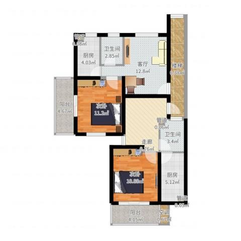 天悦花园2室1厅2卫2厨94.00㎡户型图