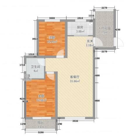 海韵星城2室2厅1卫1厨92.00㎡户型图