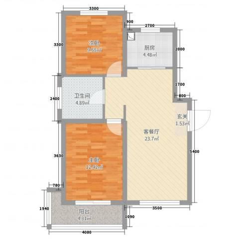 海韵星城2室2厅1卫1厨91.00㎡户型图