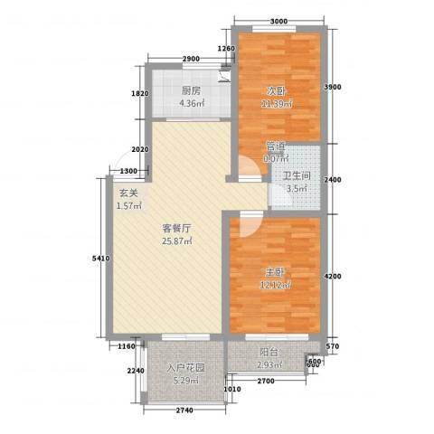 海韵星城2室2厅1卫1厨88.00㎡户型图