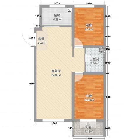 海韵星城2室2厅1卫1厨87.00㎡户型图