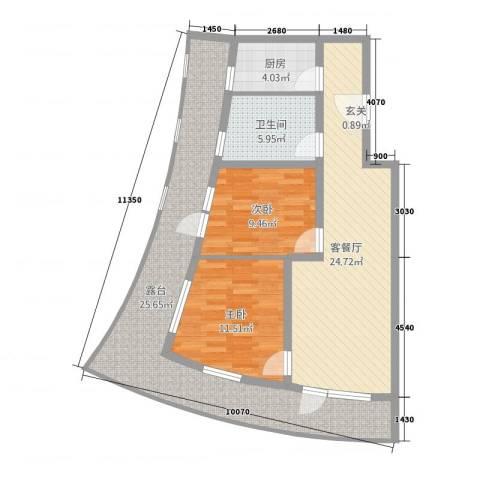 海天翼2室2厅1卫1厨113.00㎡户型图