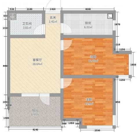 海上钓鱼台2室2厅1卫1厨79.00㎡户型图