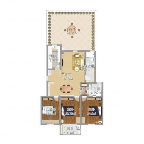 蓝天花园3室1厅1卫1厨188.00㎡户型图