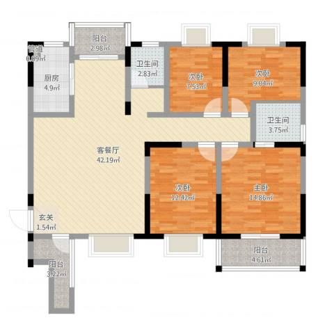 恒丰天湘华庭4室2厅2卫1厨136.00㎡户型图