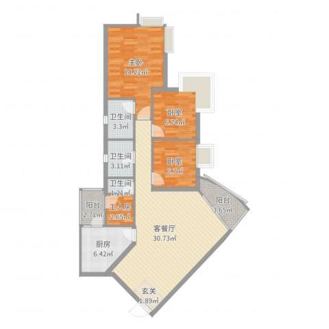 雍华庭四期1室2厅3卫1厨102.00㎡户型图