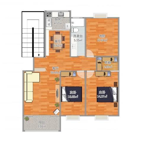 天地新城天玑座3室1厅1卫1厨108.00㎡户型图