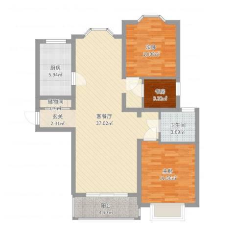 贵龙园3室2厅1卫1厨96.00㎡户型图