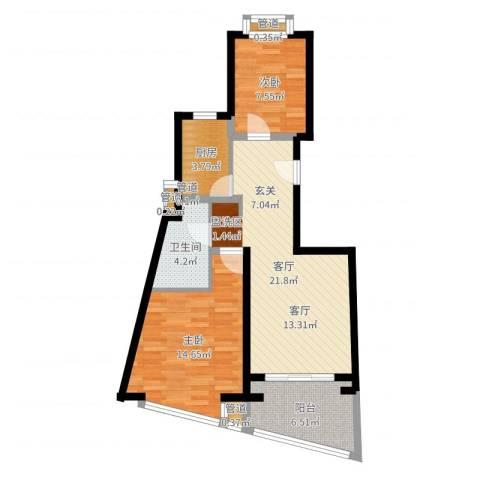 东方汇景苑2室1厅1卫1厨74.00㎡户型图