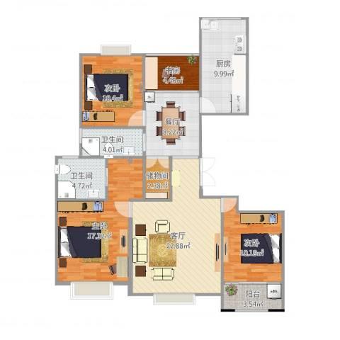 中楠时代花园4室2厅2卫1厨123.00㎡户型图