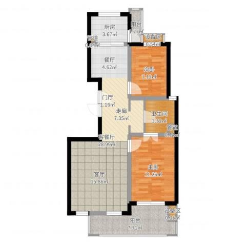 东方汇景苑2室2厅1卫1厨81.00㎡户型图