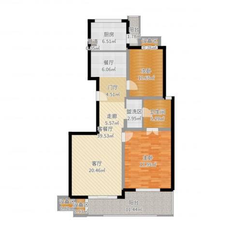 东方汇景苑2室2厅1卫1厨120.00㎡户型图