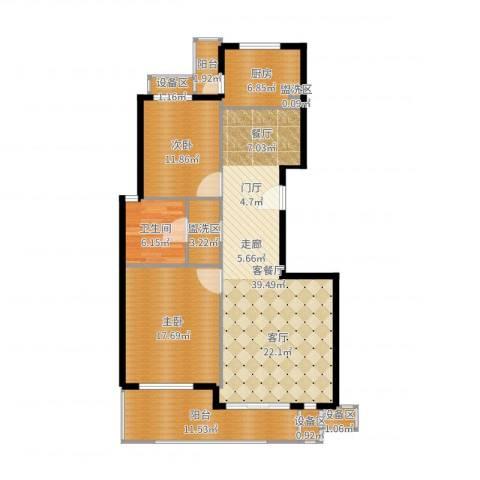 东方汇景苑2室2厅1卫1厨127.00㎡户型图