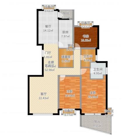 东方汇景苑3室2厅2卫1厨169.00㎡户型图
