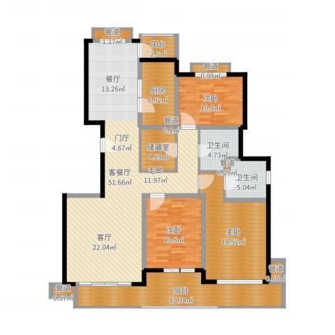 东方汇景苑3室2厅2卫1厨174.00㎡户型图