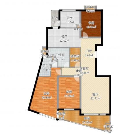 东方汇景苑3室2厅2卫1厨165.00㎡户型图