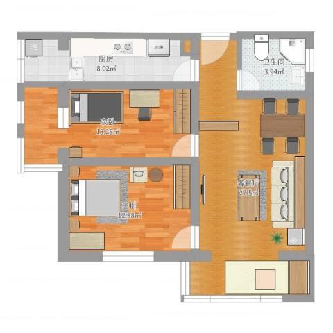 东旭园2室2厅1卫1厨82.00㎡户型图