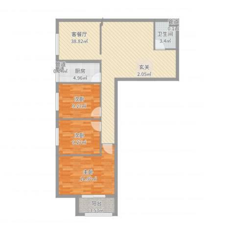 中国铁建-环保嘉苑3室2厅3卫1厨106.00㎡户型图