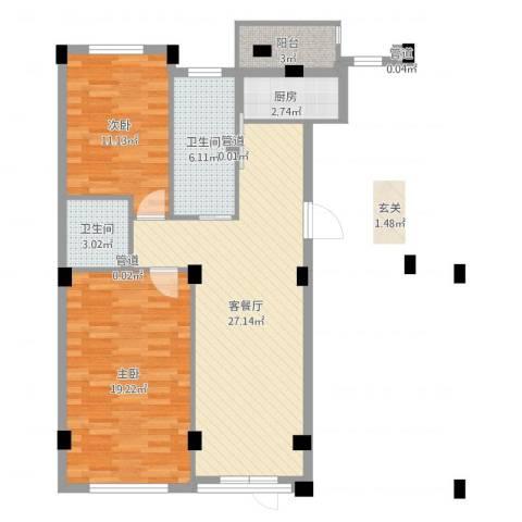 长鹭・晶品缘林2室2厅2卫1厨91.00㎡户型图