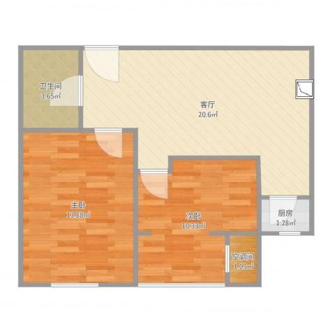 中晟次卧门进2室1厅2卫1厨64.00㎡户型图