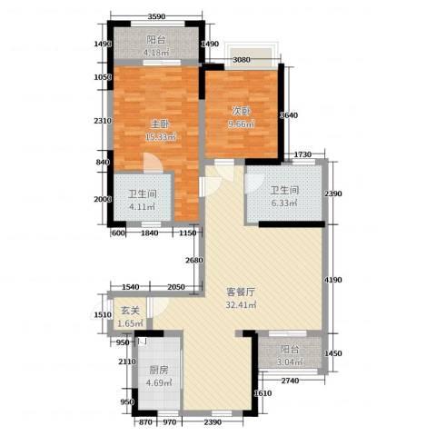 徐州开元翡翠湾2室2厅2卫1厨118.00㎡户型图