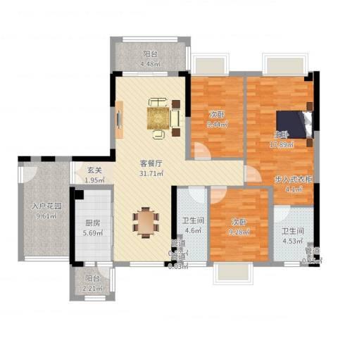 永安新城SUN第坊3室2厅2卫1厨125.00㎡户型图