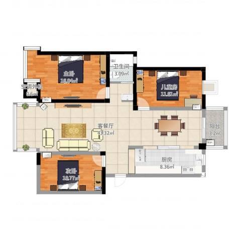 水岸枫情3室2厅2卫1厨96.98㎡户型图