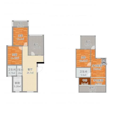 月秀花园4室1厅3卫1厨158.00㎡户型图