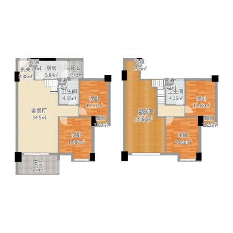 怡丰翠云轩4室2厅2卫1厨176.00㎡户型图