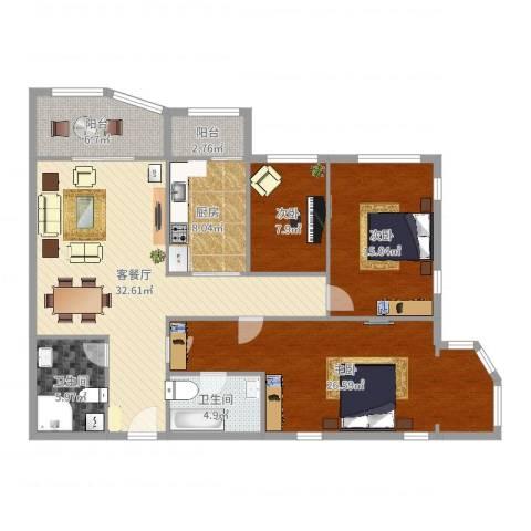 天通苑东三区3室2厅2卫1厨138.00㎡户型图