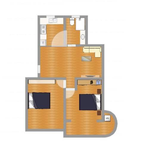 京浦小区2室1厅1卫1厨80.00㎡户型图
