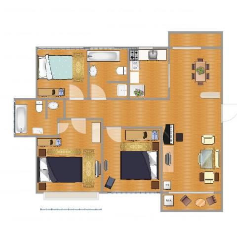 今日家园3室1厅2卫1厨125.00㎡户型图
