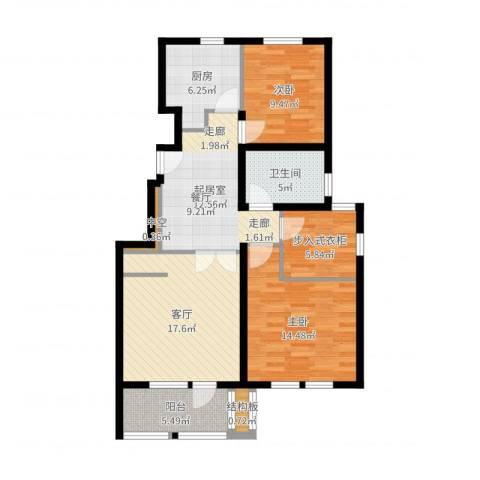 毕加索小镇2室1厅1卫1厨97.00㎡户型图