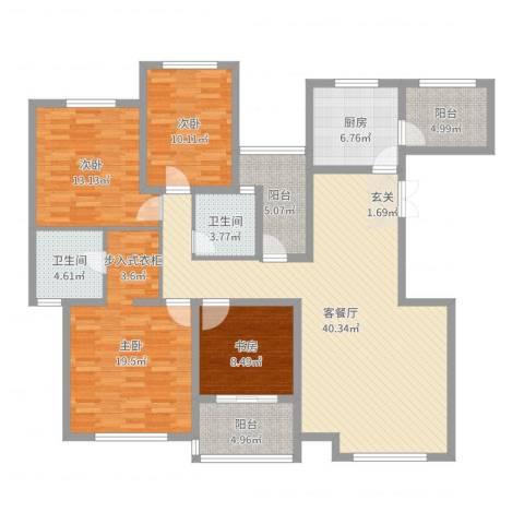 金地国际花园4室2厅2卫1厨152.00㎡户型图
