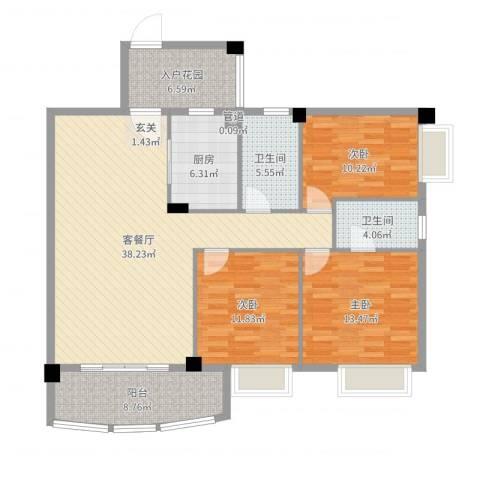 翠湖居3室2厅2卫1厨131.00㎡户型图
