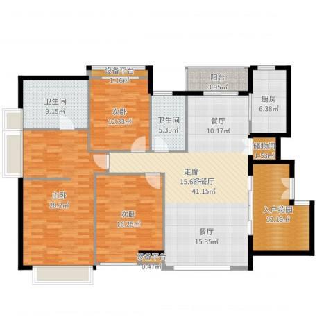 五洲云景花苑3室2厅2卫1厨173.00㎡户型图