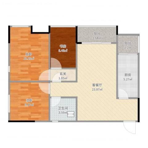华欧理想城3室2厅1卫1厨85.00㎡户型图