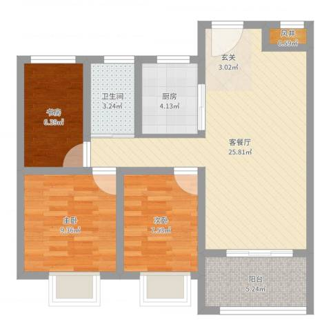 华冶新天地3室2厅1卫1厨78.00㎡户型图