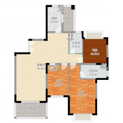 仁恒星园3室2厅2卫1厨141.00㎡户型图