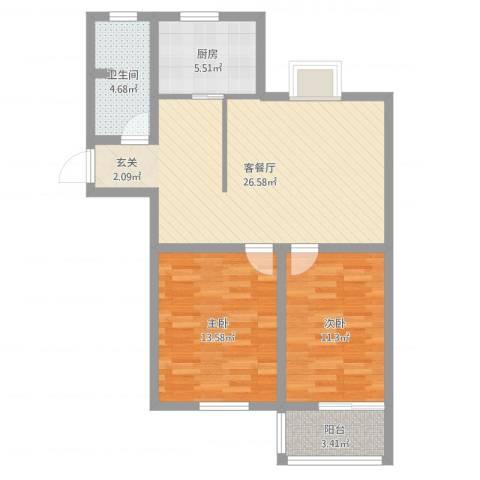 洪福小区三期2室2厅1卫1厨81.00㎡户型图