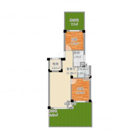 国民院子2室2厅1卫1厨107.00㎡户型图