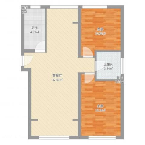 望京花园东区2室2厅1卫1厨64.51㎡户型图