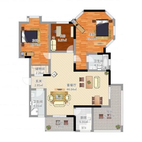 小岛花园城四期3室2厅2卫1厨161.00㎡户型图