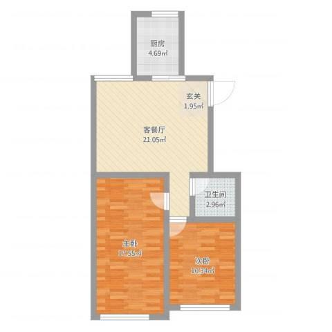 宝华・天泽府2室2厅1卫1厨71.00㎡户型图