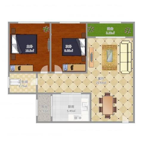 临江佳园2室1厅1卫1厨73.00㎡户型图
