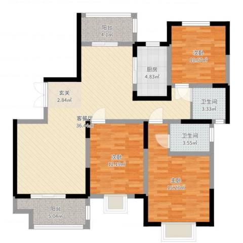 海棠花园3室2厅2卫1厨118.00㎡户型图