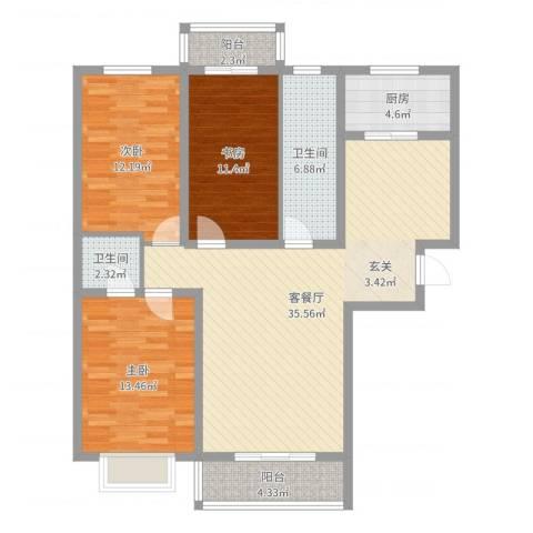 东苑小区3室2厅2卫1厨116.00㎡户型图